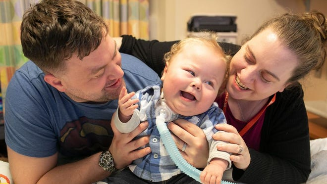 Cory and Alison Fehr laugh with their son Jackson, who on Thursday went home to Rock Hill in Sullivan County for the first time since being born on Sept. 11, 2018. Jackson spent 542 straight days in hospitals due to chronic lung disease.
