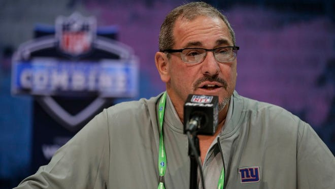 New York Giants senior vice president & general manager Dave Gettleman speaks during a press conference at the NFL football scouting combine in Indianapolis, Tuesday, Feb. 25, 2020.