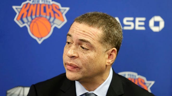 New York Knicks' general manager Scott Perry speaks to reporters at a news conference in Tarrytown, N.Y., Thursday, April 12, 2018. The Knicks fired coach Jeff Hornacek early Thursday, making the decision shortly after beating Cleveland on Wednesday night to finish a 29-53 season. They lost more than 50 games and missed the playoffs both seasons under Hornacek.