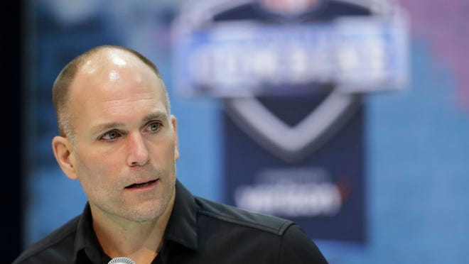 From Feb. 27, 2019, Baltimore Ravens general manager Eric DeCosta speaks during a news conference at the NFL football scouting combine in Indianapolis. Despite Baltimore's ascent to the top tier of the NFL last year, there's work to be done to make this a Super Bowl-caliber team. DeCosta addressed the run defense last month by trading for Calais Campbell and signing free agent Derek Wolfe. DeCosta expects to fill a few other gaps during the NFL draft next week.