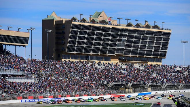 From Feb. 24, 2019, a NASCAR Monster Energy NASCAR Cup Series auto race starts at Atlanta Motor Speedway in Hampton, Ga. NASCAR and IndyCar have each called off their races this weekend. NASCAR was scheduled to run Sunday at Atlanta Motor Speedway without spectators but said Friday, March 13, 2020, it is calling off this weekend and next week's race at Homestead-Miami Speedway. IndyCar was scheduled to open its season Sunday on the streets of St. Petersburg, Florida, but suspended it's season through the end of April.