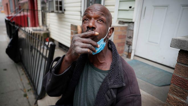 Aubrey, 57, describes the loneliness brought on by social distancing protocols after receiving a dose of antipsychotic medication to treat his schizophrenia, Wednesday, May 6, 2020, in the Brooklyn borough of New York. Even before the pandemic, access to mental health services in the U.S. could be difficult, including for people with insurance. Now experts fear COVID-19 will make the situation worse.