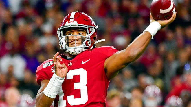 From Nov. 9, 2019, Alabama quarterback Tua Tagovailoa passes during an NCAA college football game against LSU in Tuscaloosa, Ala. Tagovailoa is a rarity in the NFL: a left-handed quarterback, something the league hasn't had in several years.