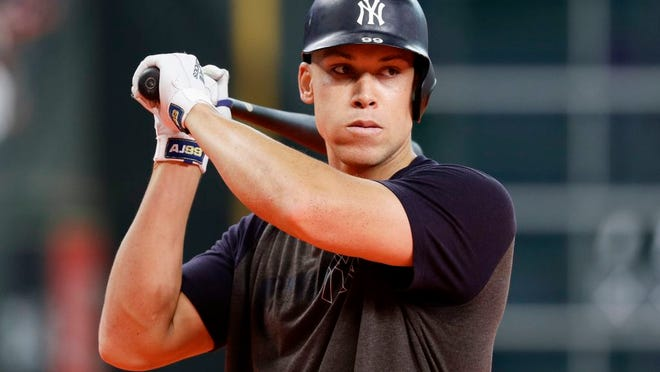 New York Yankees right fielder Aaron Judge watches during batting practice before Game 1 of baseball's American League Championship Series against the Houston Astros Saturday, Oct. 12, 2019, in Houston.