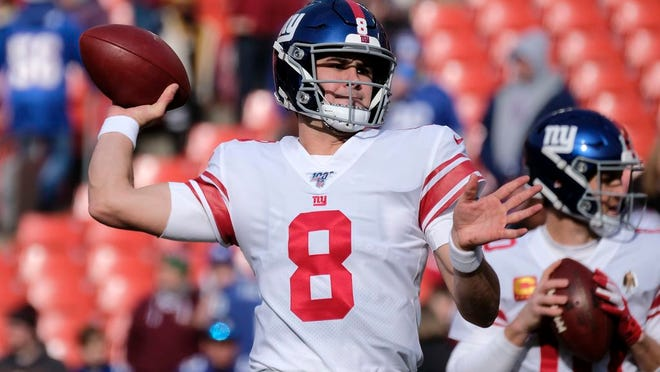 From Dec. 22, 2019, New York Giants quarterback Daniel Jone warms up prior to an NFL football game against the Washington Redskins in Landover, Md. Jones seemingly has plenty of targets for his second season with Darius Slayton, Golden Tate and Sterling Shepard returning at wide out and Evan Engram at tight end.