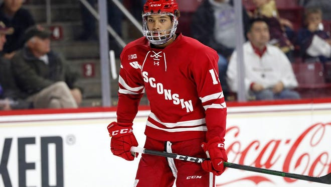 Rangers draft choice, Wisconsin's K'Andre Miller, during an NCAA game against Boston College on Friday, Oct. 11, 2019 in Chestnut Hill, Mass.
