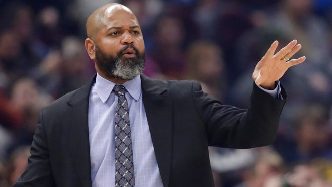 "From March 2, 2020, Cleveland Cavaliers head coach J.B. Bickerstaff gives instructions to players in the first half of an NBA basketball game against the Utah Jazz in Cleveland. Even if the NBA doesn't resume this season, and at this point no one knows for sure, the Cavaliers believe it's time to start getting ready for the next one. ""Any minute that we can get working with each other is beneficial to us,"" Cavs coach J.B. Bickerstaff said Wednesday, May 6, 2020."