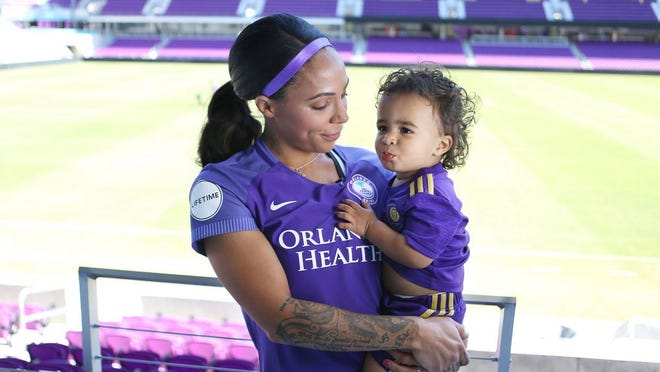 Orlando Pride forward Sydney Leroux, here in March 2018, is focused on training for the NWSL season while helping her son, Cassius Dwyer, adapt to coronavirus limitations.
