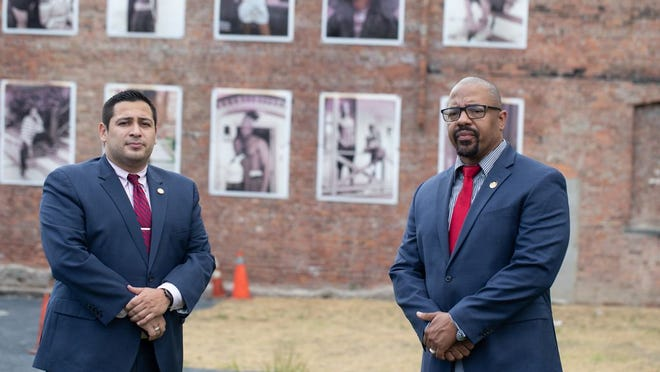 Orange County Legislator Kevindaryan Lujan, left and City of Newburgh Mayor Torrance Harvey, right  pose for the camera in Newburgh, NY on June 3, 2020. ALLYSE PULLIAM/For the Times-Herald Record
