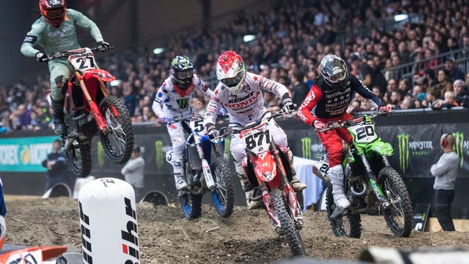From Nov. 30, 2018, competitors start the 33th Geneva International Supercross races at the Palexpo in Geneva, Switzerland. Supercross joined the rest of the sports world in shutting down during the coronavirus pandemic. Following the lead of NASCAR and UFC, the roughest sport on wheels returns this weekend.