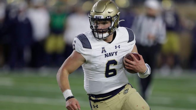 Quarterback Perry Olsen (6) and Navy will host Notre Dame for the first time in 94-game series. The game was moved from Ireland to Annapolis due to coronavirus concerns. DARRON CUMMINGS/AP