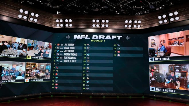 In a photo provided by ESPN Images, the first six selections in the NFL draft are displayed during ESPN's coverage of the NFL football draft, Thursday, April 23, 2020, in Bristol, Conn.