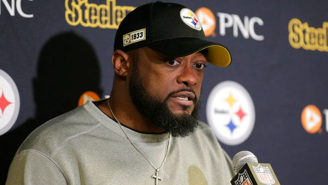 From Dec. 22, 2019, Pittsburgh Steelers head coach Mike Tomlin talks during a post game news conference after an NFL football game against the New York Jets in East Rutherford, N.J. The NFL Draft is April 23-25, 2020.