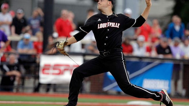 From June 7, 2019, Louisville's Reid Detmers throws during the sixth inning in Game 1 of an NCAA college baseball super regional tournament against East Carolina, in Louisville, Ky. Detmers is expected to be an early selection in the Major League Baseball draft.