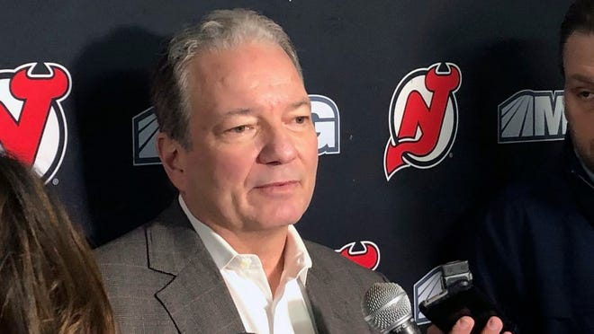 Now fired New Jersey Devils general manager Ray Shero talks with the media after practice in Newark, N.J., Tuesday, Dec. 17, 2019.