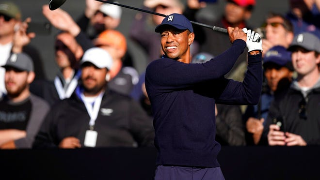 Tiger Woods hits his tee shot on the 10th hole during the Genesis Invitational pro-am golf event at Riviera Country Club, Wednesday, Feb. 12, 2020, in the Pacific Palisades area of Los Angeles.