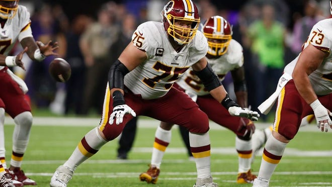Washington Redskins offensive guard Brandon Scherff (75) would be an ideal free agent acquisition for the New York Jets.