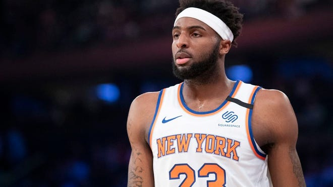 New York Knicks center Mitchell Robinson during a break in action in the first half of an NBA basketball game against the Oklahoma City Thunder, Friday, March 6, 2020, at Madison Square Garden in New York.