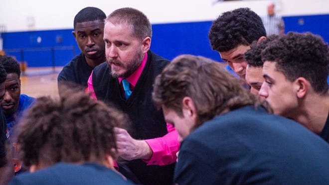 Chester head coach John Marsillo talks to his team before the start of the game against SS Seward during the Slam Dunk Heart Disease Games at Mount Saint Mary College in Newburgh, NY on Sunday, January 5th, 2020. KELLY MARSH/FOR THE TIMES HERALD-RECORD