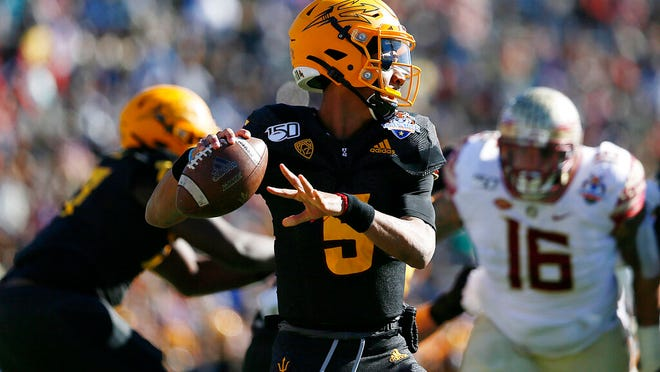Arizona State quarterback Jayden Daniels looks to pass during the Sun Bowl NCAA college football game against Florida State, Tuesday, Dec. 31, 2019 in El Paso, Texas.