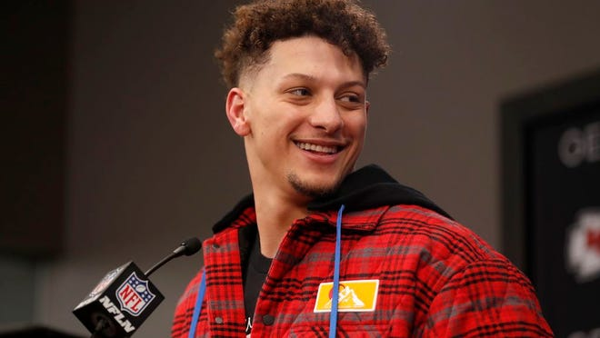 Kansas City Chiefs quarterback Patrick Mahomes speaks during a news conference following an NFL divisional playoff football game between the Kansas City Chiefs and the Houston Texans, in Kansas City, Mo., Sunday, Jan. 12, 2020. The Kansas City Chiefs won 51-31.