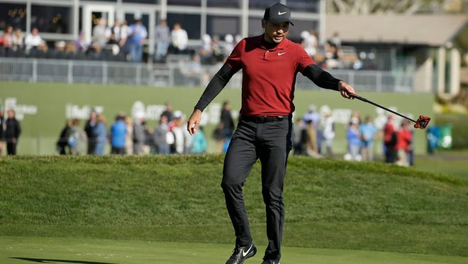 Jason Day, of Australia, looks over the 18th green of the Pebble Beach Golf Links during the second round of the AT&T Pebble Beach National Pro-Am golf tournament Friday, Feb. 7, 2020, in Pebble Beach, Calif.