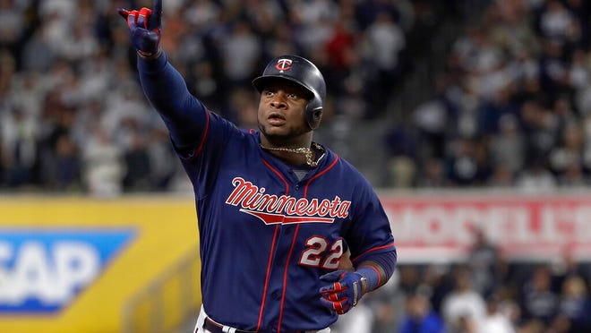 From Oct. 4, 2019, Minnesota Twins' Miguel Sano rounds the bases after hitting a solo home run against the New York Yankees during the sixth inning of Game 1 of an American League Division Series baseball game in New York. The Twins enter spring training emboldened by their 101-win season in 2019.