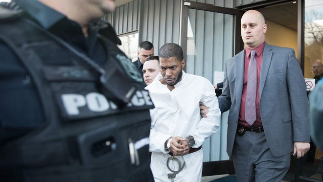 Kaliek Goode-Ford is led out of his arraignment on murder charges in the Town of Newburgh on Jan. 27.
