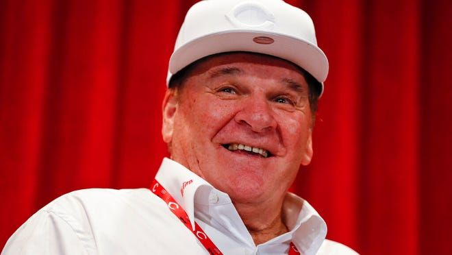 From June 17, 2017, former Cincinnati Reds player Pete Rose attends a news conference during his statue dedication ceremonies before a baseball game between the Reds and the Los Angeles Dodgers in Cincinnati. Rose once again asked Major League Baseball to end his lifetime ban, saying the penalty is unfair compared with discipline for steroids use and electronic sign stealing. Rose's lawyers submitted the application Wednesday, Feb. 5, 2020, to baseball Commissioner Rob Manfred, who in December 2015 denied the previous request by the career hits leader.