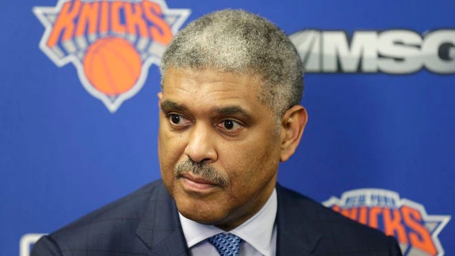 From April 12, 2018, New York Knicks' president Steve Mills speaks to reporters at an NBA basketball news conference in Tarrytown, N.Y. The Knicks fired Mills on Tuesday, Feb. 4, 2020, a person with knowledge of the decision told The Associated Press. Perry will take over control of the basketball operations, according to the person, who spoke to the AP on condition of anonymity because no announcement had been made.