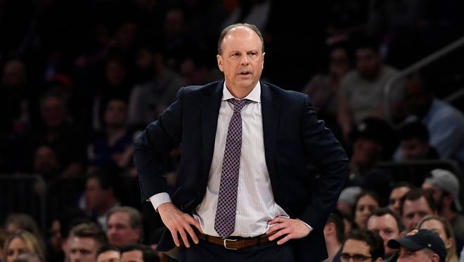 New York Knicks head coach Mike Miller looks on during the second half of an NBA basketball game against the Washington Wizards, Wednesday, Feb. 12, 2020, in New York. The Wizards won 114-96.