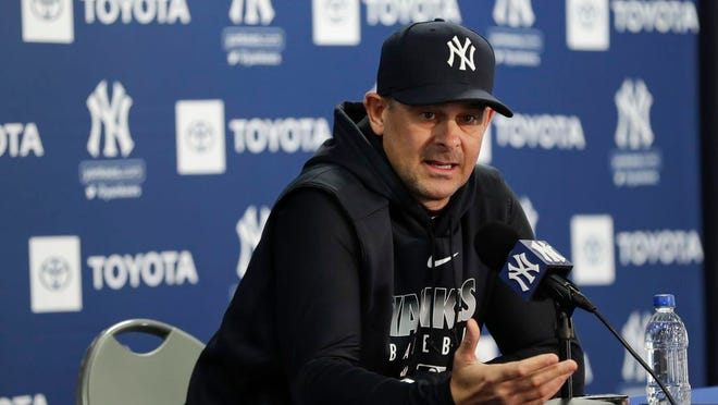 New York Yankees manager Aaron Boone speaks during a news conference before the start of spring training baseball Wednesday, Feb. 12, 2020, in Tampa, Fla.