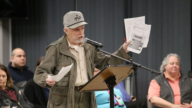 Richard Bystrak, whose property abuts the site of the proposed warehouse for Amazon in the Town of Montgomery, said Tuesday night that many facts and statistics in the environmental impact statement were wrong.