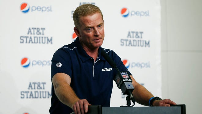 From Dec. 15, 2019, Dallas Cowboys head coach Jason Garrett takes part in a news conference following an NFL football game against the Washington Redskins in Arlington, Texas. A person with direct knowledge of the decision says New York is hiring Garrett to be the Giants offensive coordinator. The person spoke to The Associated Press on condition of anonymity Friday, Jan. 17, 2020, because the team did not immediately announce the move.