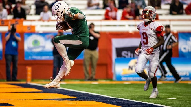 Cornwall's Amin Woods scores a touchdown versus Carthage in the Class A NYSPHSAA championship game at the Carrier Dome in Syracuse, NY on Friday, November 29th, 2019.