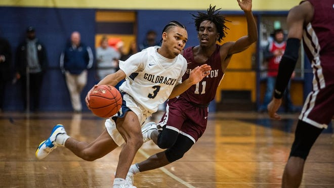 Newburgh's Zeccheaus Barnes drives up court during the OCIAA Class AA basketball game at Newburgh Free in Newburgh, NY on Tuesday, January 4th, 2020. Newburgh defeated Kingston 58-49. KELLY MARSH/FOR THE TIMES HERALD-RECORD