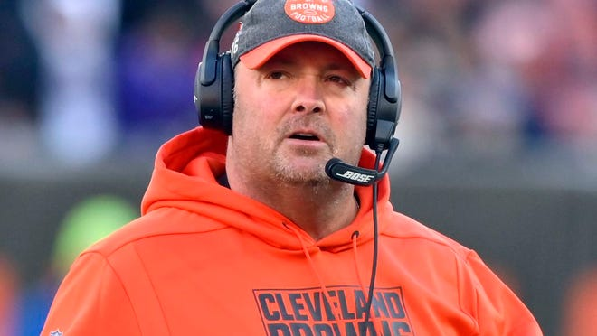 From Dec. 22, 2019, Cleveland Browns head coach Freddie Kitchens walks on the field during the fourth quarter of an NFL football game against the Baltimore Ravens in Cleveland. Recently fired Cleveland Browns coach Freddie Kitchens has been hired as the New York Giants tight end coach on Wednesday, Feb. 5, 2020.