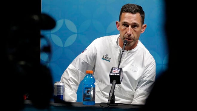 San Francisco 49ers head coach Kyle Shanahan speaks during a news conference after the NFL Super Bowl 54 football game against the Kansas City Chiefs Sunday, Feb. 2, 2020, in Miami Gardens, Fla.