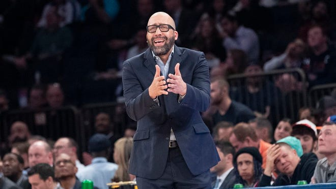 New York Knicks coach David Fizdale reacts during the first half of the team's NBA basketball game against the Denver Nuggets, Thursday, Dec. 5, 2019, at Madison Square Garden in New York.