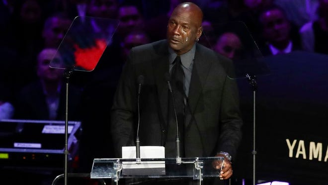 Former NBA player Michael Jordan cries while speaking during a celebration of life for Kobe Bryant and his daughter Gianna Monday, Feb. 24, 2020, in Los Angeles.