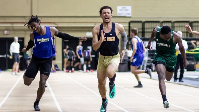 From left, Marlon Cabrera, Brandon DeJesus and Jiles Addison cross the finishline in the boys 55 meter dash at the Section 9 track and field state qualifier at West Point, NY on February 28, 2020.  ALLYSE PULLIAM/For the Times-Herald Record