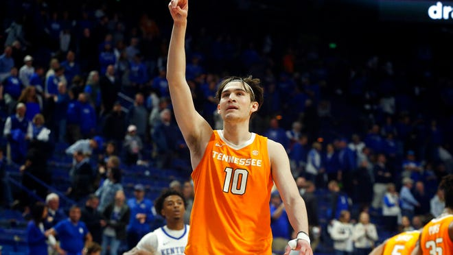 Tennessee's John Fulkerson (10) celebrates after Tennessee defeated Kentucky 81-73 in an NCAA college basketball game Tuesday, March 3, 2020, in Lexington, Ky.