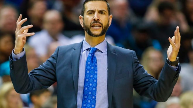 From Nov. 23, 2019, Charlotte Hornets' head coach James Borrego pleads for results during the first half of an NBA basketball game against the Chicago Bulls in Charlotte, N.C. Borrego believes Charlotte could be at a major disadvantage because they won't be playing in Orlando when the NBA returns to action.
