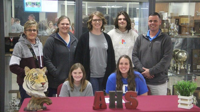Ardmore's Kalie Davis signed her National Letter of Intent to play college golf for Southwestern Christian University on Tuesday afternoon at Ardmore High School. She was joined at the signing by members of her family.