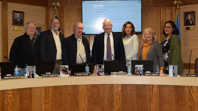 Pictured from left to right at the January Shawnee Board of Education meeting are Mark Betterton, Keith Sandlin, Bobby Canty, Larry Walker, Misty Heath, April Stobbe and Kristen Wilson.
