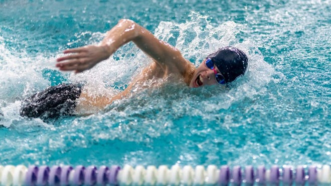 Shawnee's Brodie Morris competes in the freestyle. Morris won two events and was part of two winning relays on Friday in the Casady McGuinness Invitational. Morris broke a boys' school record in the 100-yard freestyle with a time of 50.75 seconds.  Photo courtesy of Workingman Photo.