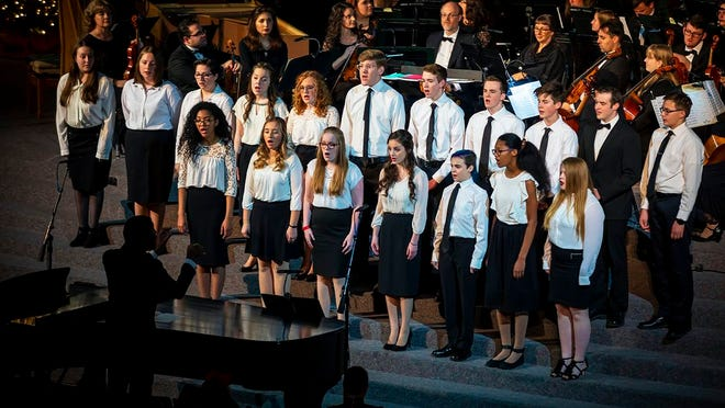 The OBU Music Preparatory Department is holding auditions for Shawnee Honor Choir (grades 3-7) and Concert Choir (grades 7-12) Tuesday, Jan. 20, from 5 to 6:30 p.m. Auditions are free but require a reservation. Please call (405) 585-4329 or email prep@okbu.edu to schedule your audition time.  Pictured: The Concert Choir performs during OBU's Hanging of the Green Dec. 7, 2019.