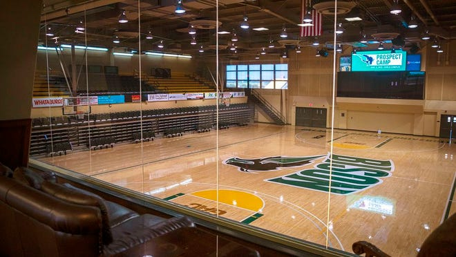 OBU alumni are invited to herd to Bison Hill Saturday, Feb. 29, for Alumni Day during the OBU basketball games. Pictured: A view from the Mabee Suite overlooking the basketball court inside the Noble Complex.