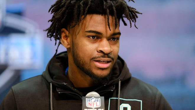 Alabama defensive back Trevon Diggs speaks during a press conference at the NFL football scouting combine in Indianapolis, Friday, Feb. 28, 2020.