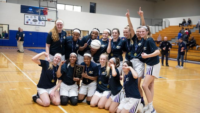 Monroe-Woodbury celebrates its victory over Valley Central in the Section 9 Class AA Girls Basketball Championships in Newburgh, NY on March 7, 2020. ALLYSE PULLIAM/For the Times-Herald Record